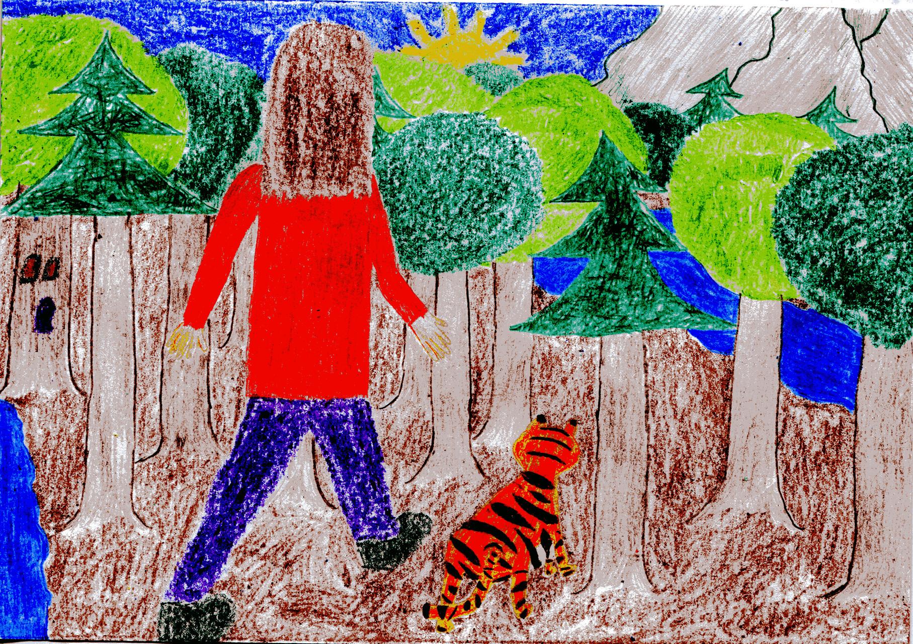 Dorothea geht mit dem Tiger zu den Bergen