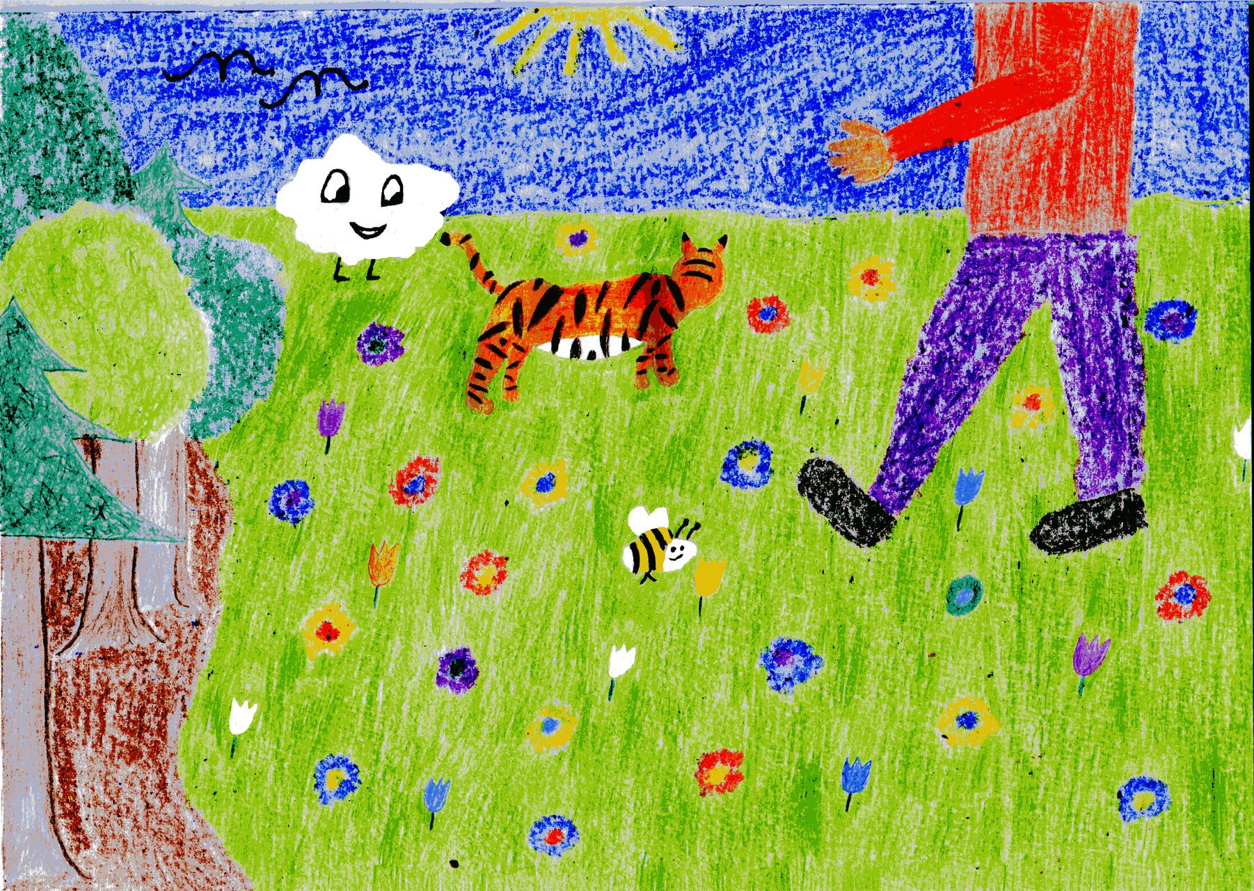 Dorothea, Sausewind und der Tiger spielen auf der Wiese