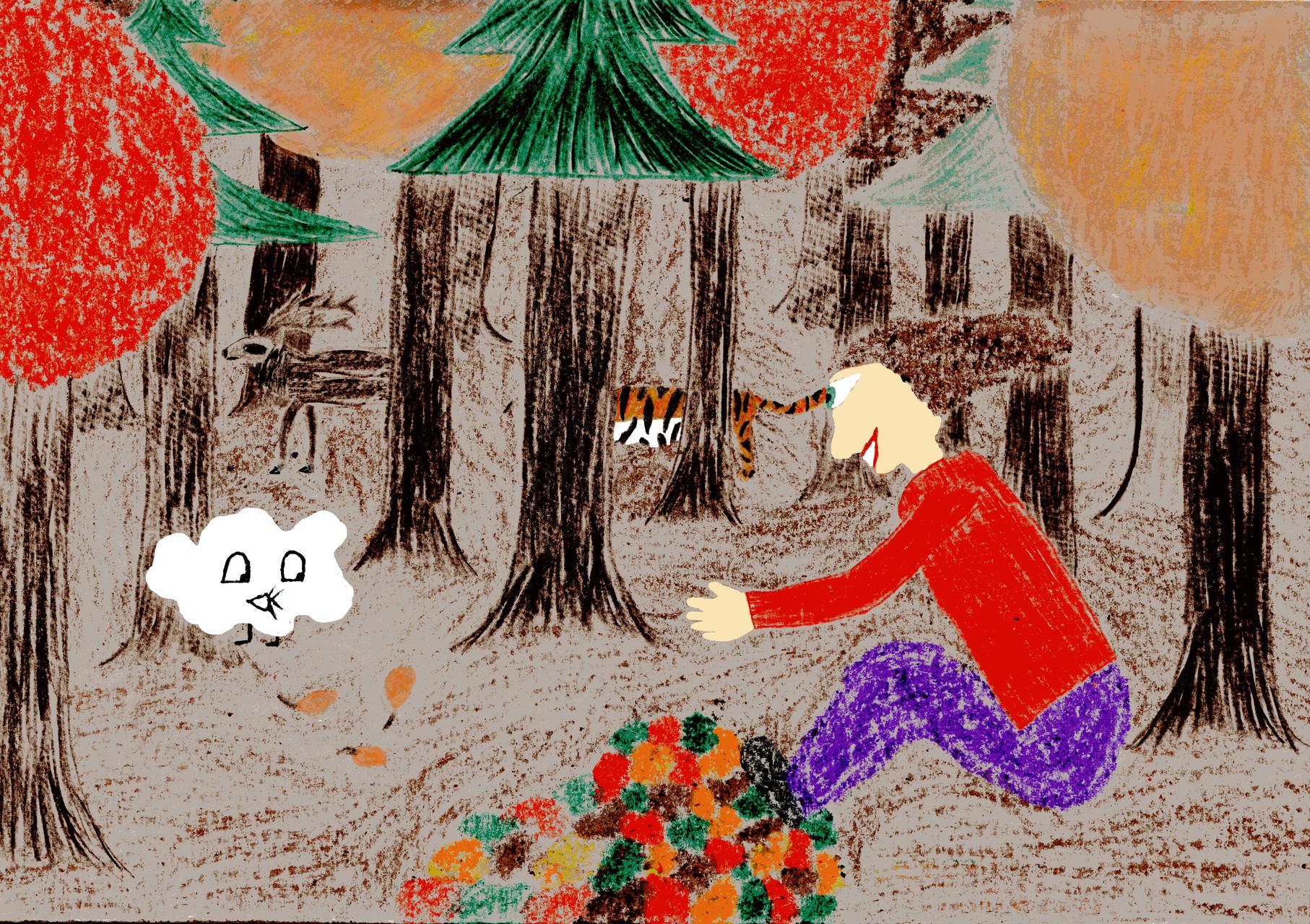 Dorothea und ihre Freunde spielen im herbstlichen Wald