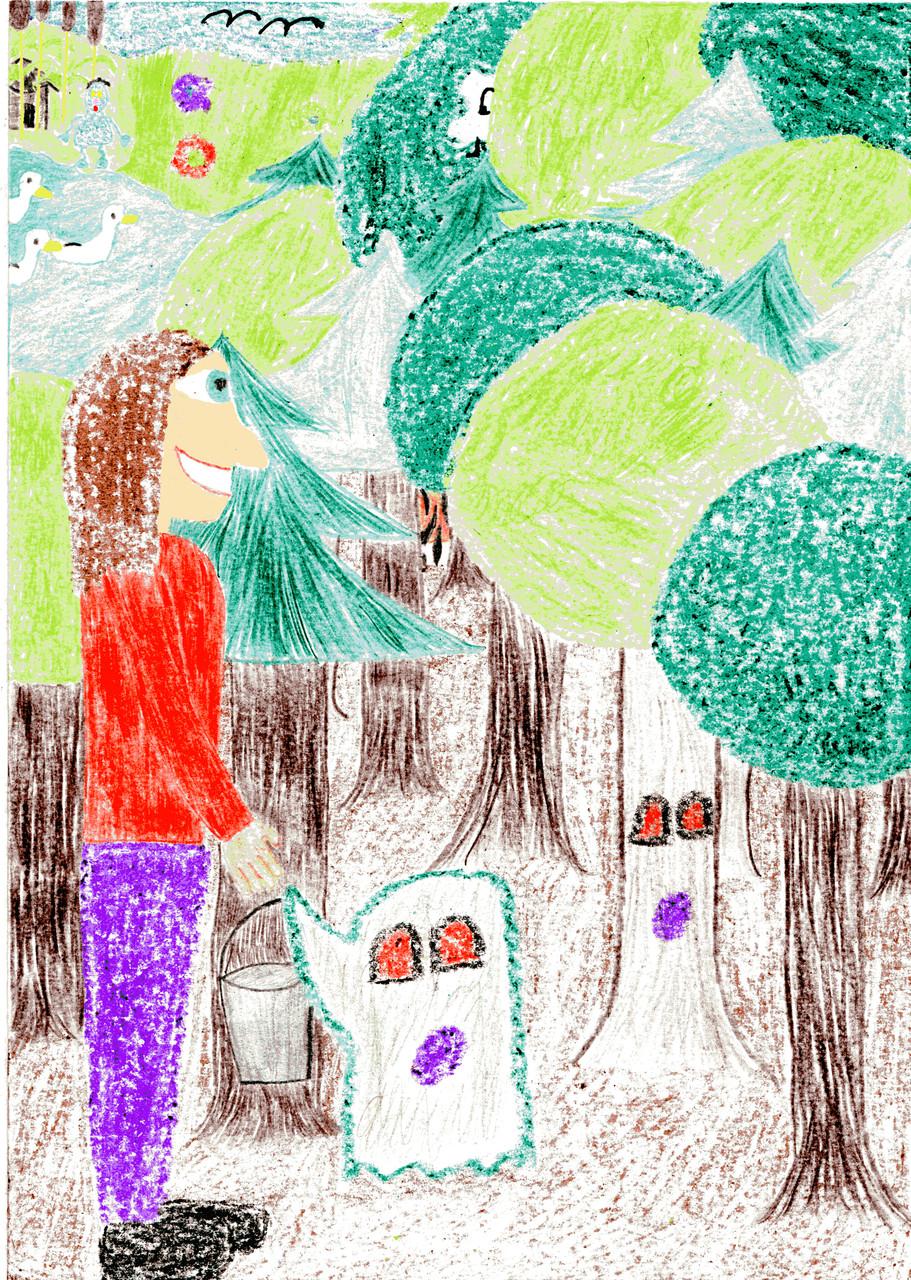Dorothea bittet die Waldgespenster um einen Eimer mit Harz
