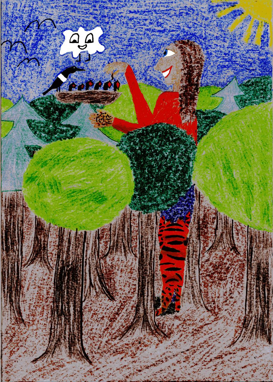 Dorothea füttert die Rabenküken