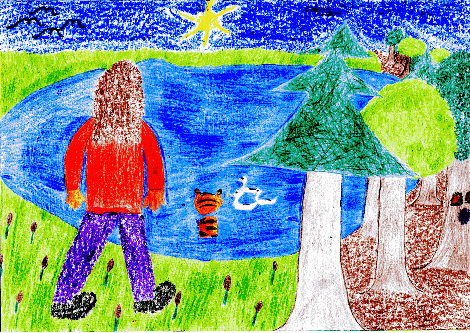 Dorothea und der Tiger am Teich