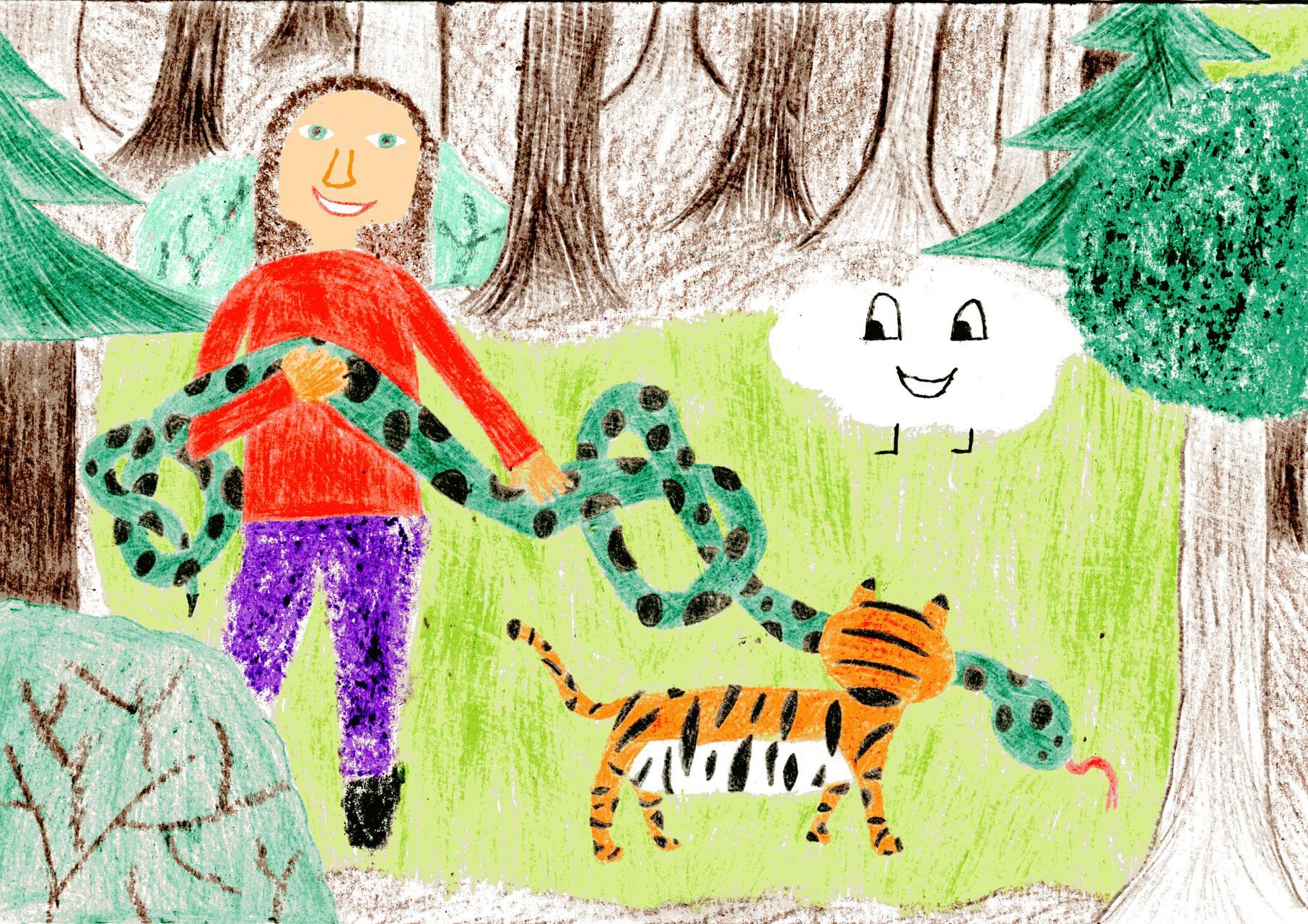 Dorothea und der Tiger entknoten die Riesenschlange