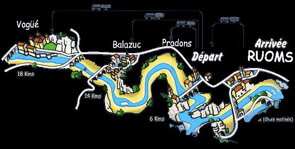 Le plan des parcours que nous proposons en canoë-kayak