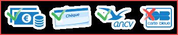 Moyens de paiement : espèces, chèque, chèque vacances
