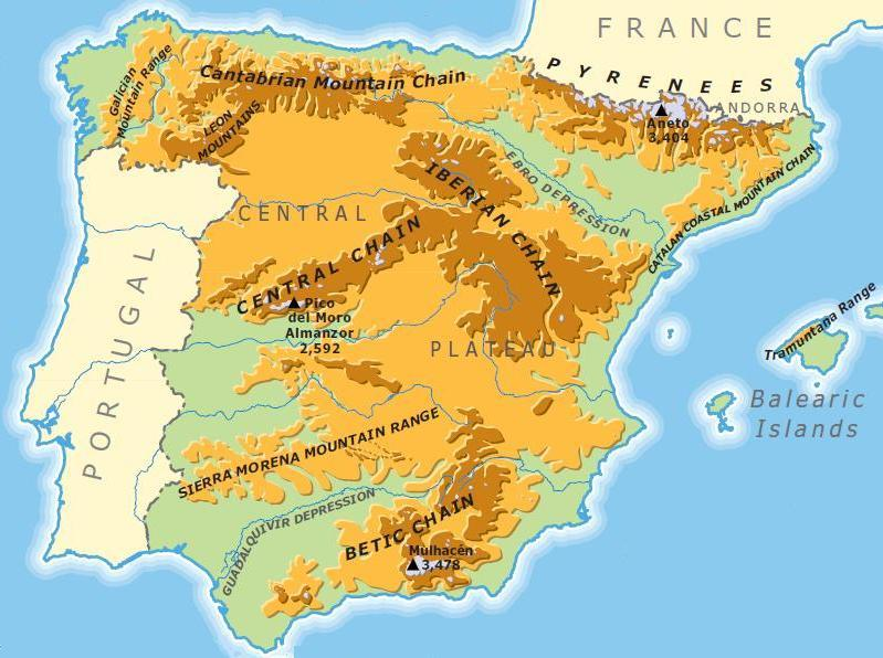 Map Of Spain Rivers And Mountains.The Body Systems Migueldecervantestrescantoss Jimdo Page