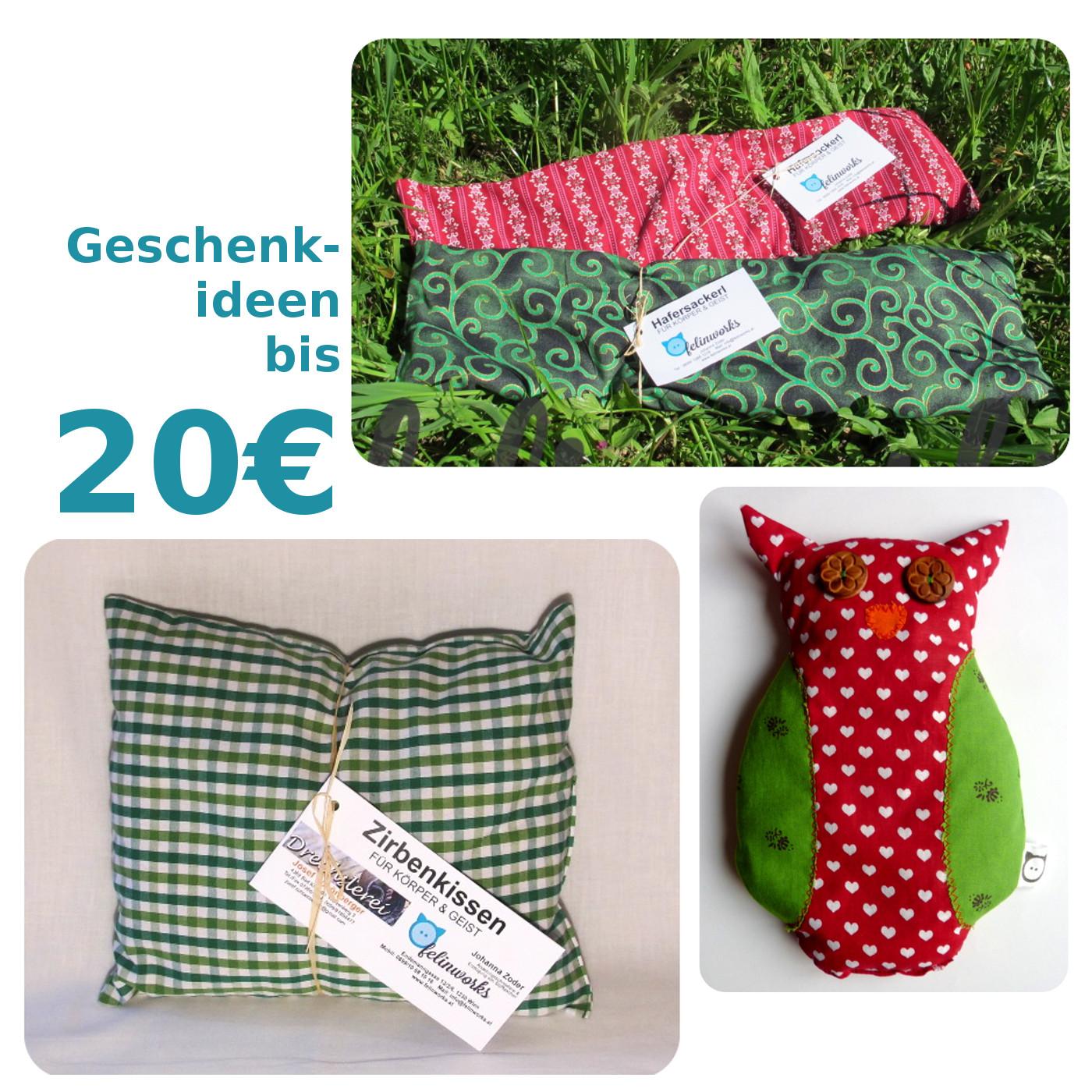 Bis 20€: kleines Zirbenkissen, Hafersackerl groß, Hafereule