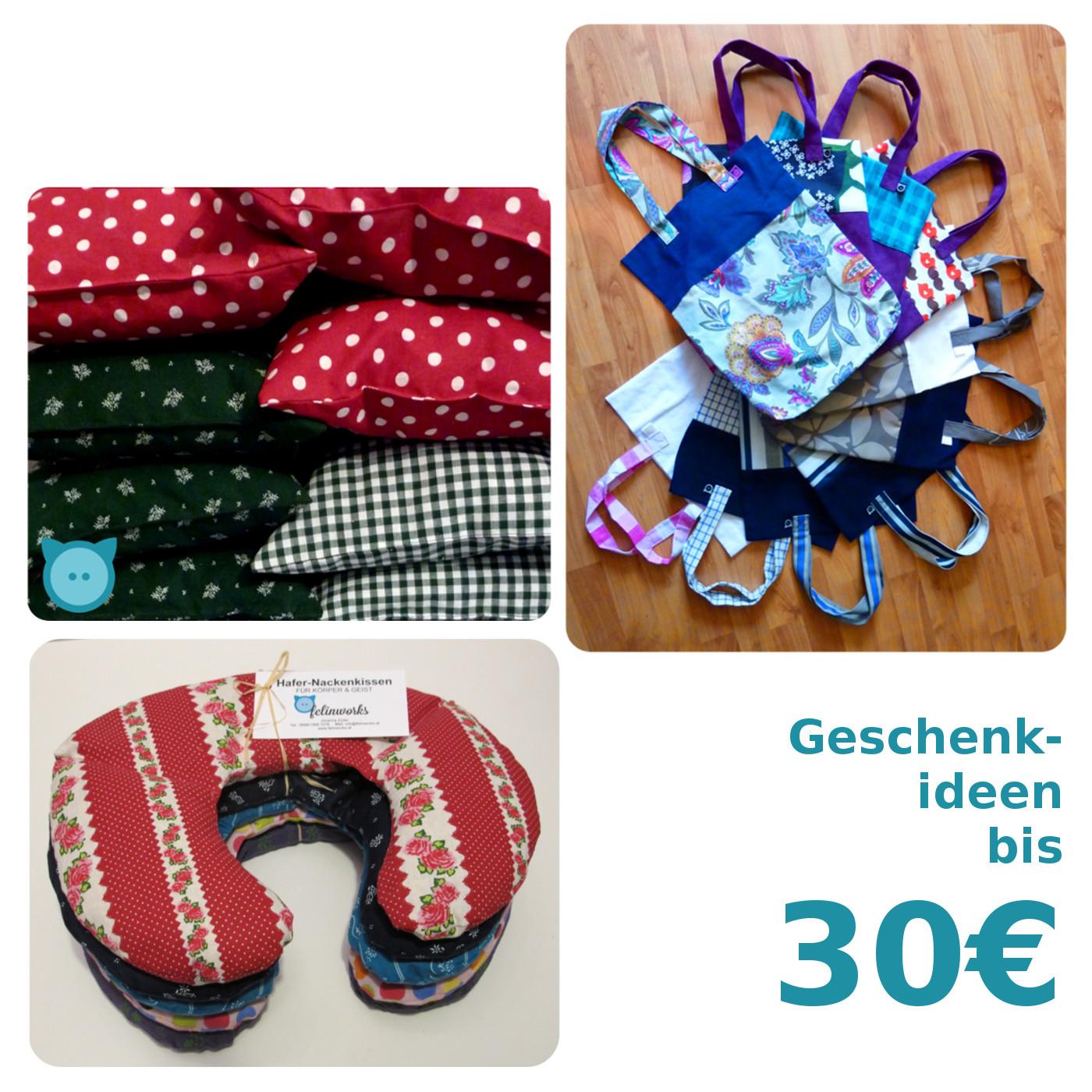 Bis 30€: Zirbenkissen groß, Hafernackenkissen, Tasche 'Uno'