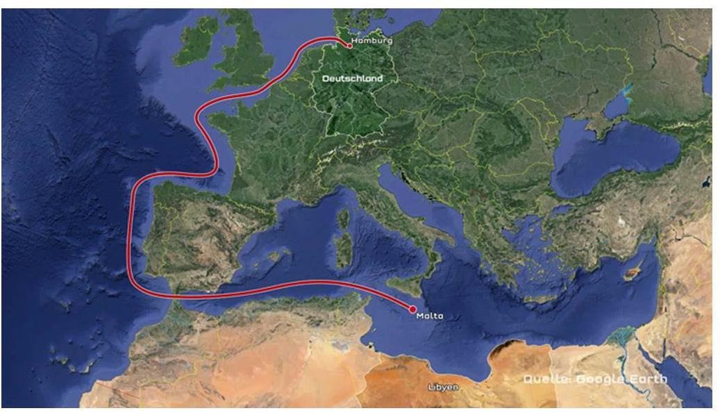In drei Etappen ins Mittelmeer