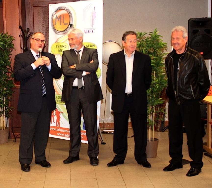 Stéphane Donnot, sous-préfet de Calvi avec à sa gauche M MBergeot, directeur régional Pole Emploi Corse, Trojani, président de la CCI, Jean-Toussaint Guglielmacci, adjoint au maire de Calvi et conseiller général du canton
