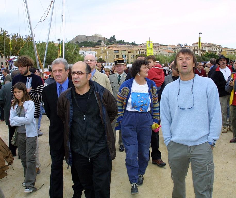 2003 : Isabelle Autisser, marraine, derrière Serge Orru et Nicolas Hulot