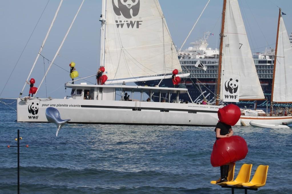 Le bateau de WWF entre une mirette et un bateau de croisière