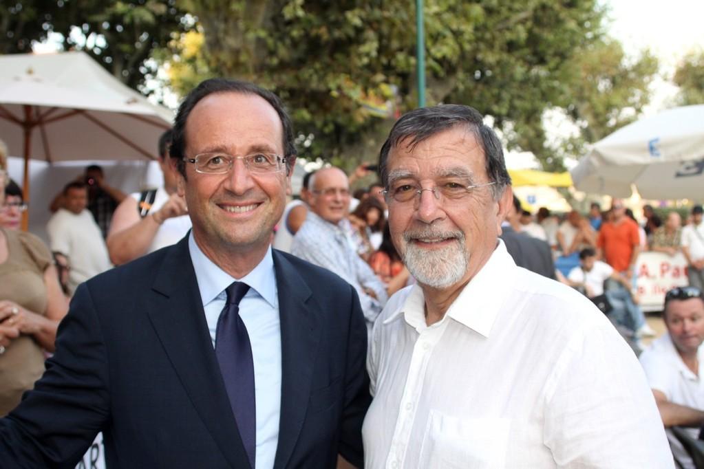 François Hollande et Hyacinthe Mattei qui à l'origine de la venue du candidat à la primaire du PS en Balagne