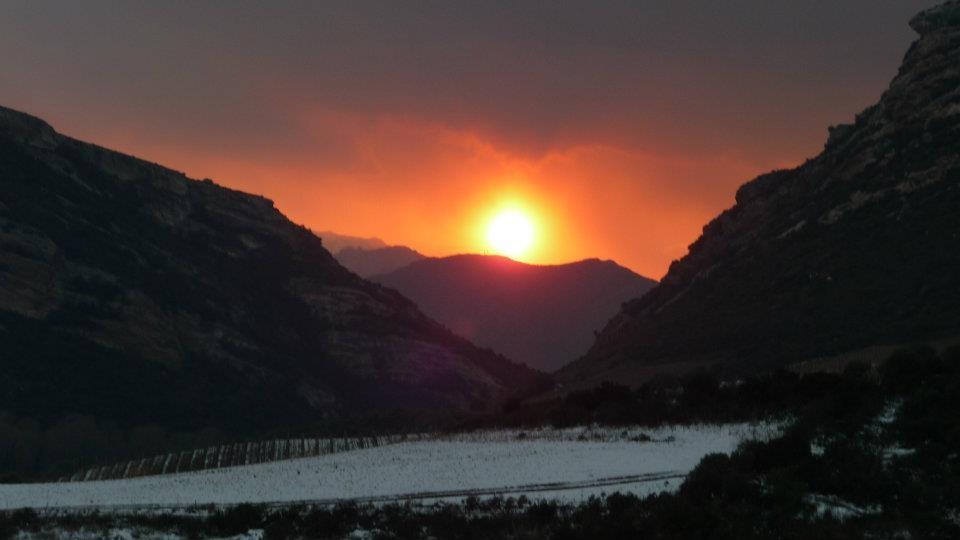 Superbe coucher de soleil sur un champ de neige côte Ouest (Annick Costa)