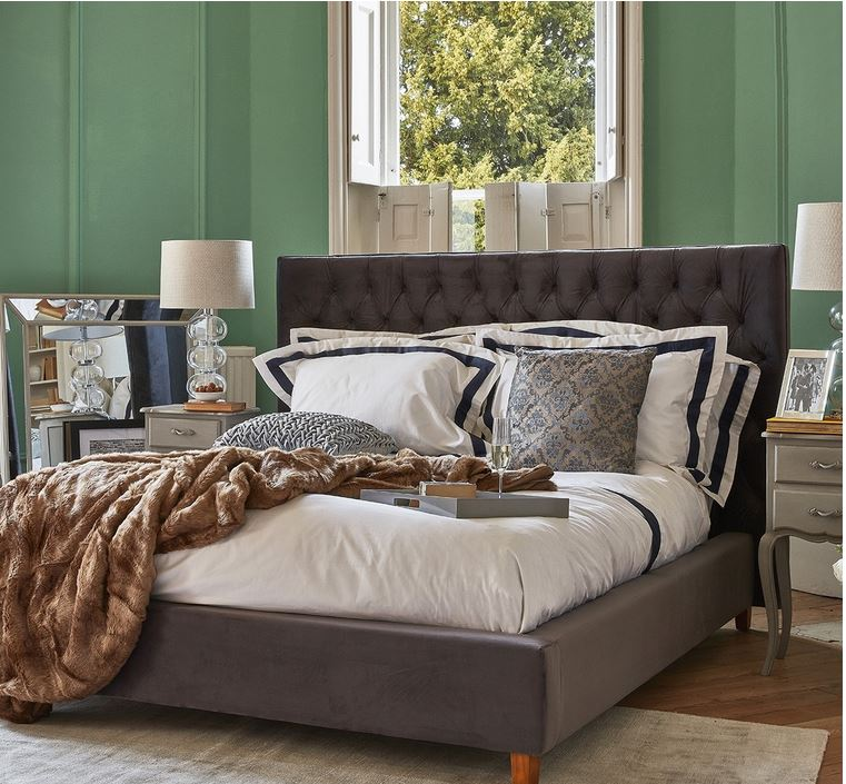 Kensington Bed - Superking Storm Grey Velvet
