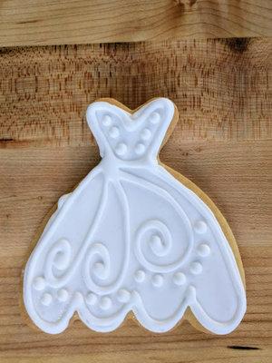 Decorated Wedding Dress Sugar Cookie