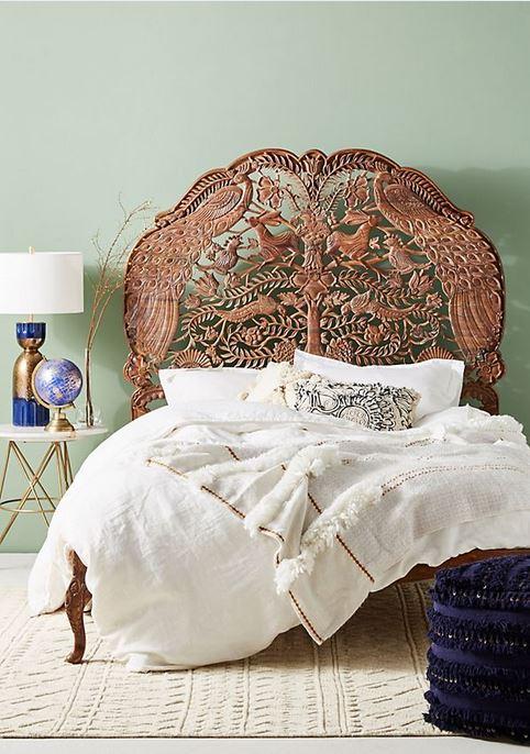 Handcarved Woodland Bed