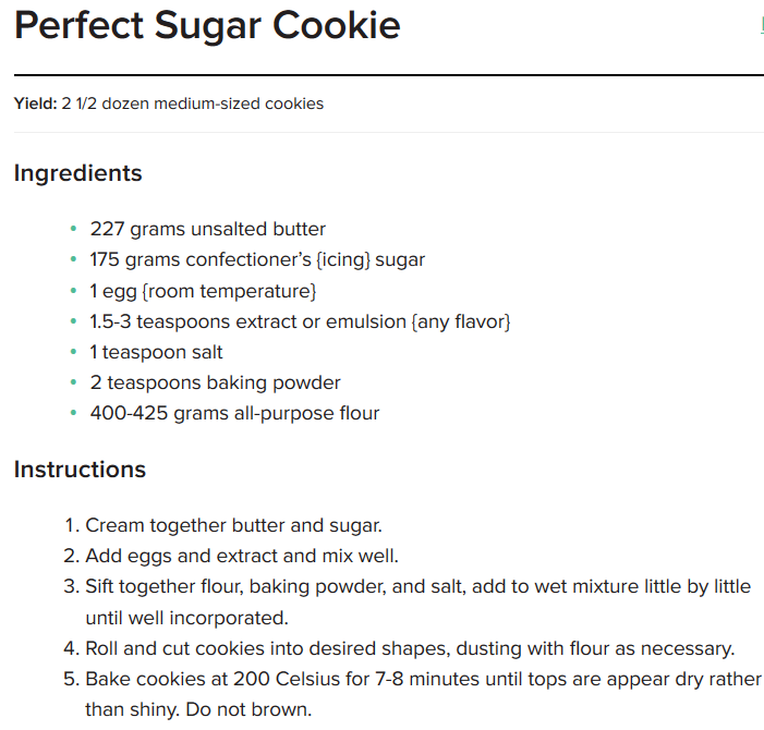 Recipe for the Perfect Sugar Cookies every time