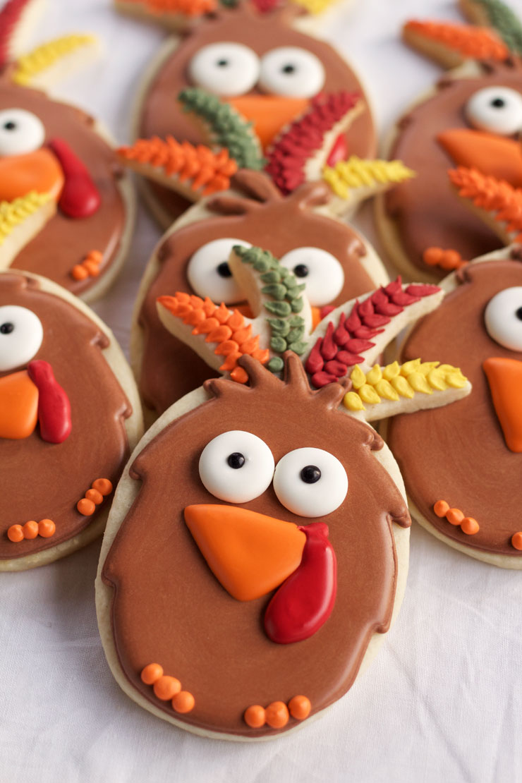 Turkey Cookies made with a Pineapple Cookie Cutter