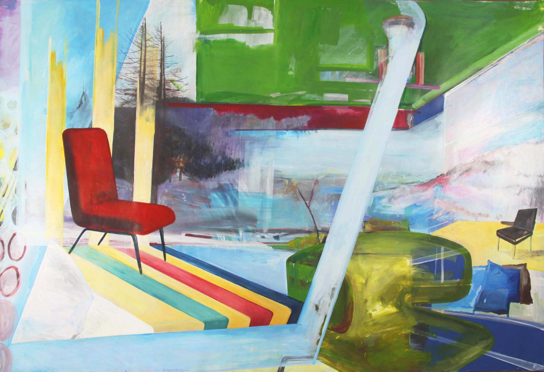SIT DOWN, PLEASE  I  acryl, kreide, graphit u. m. auf hahnemühle karton  I  200 x 132 cm