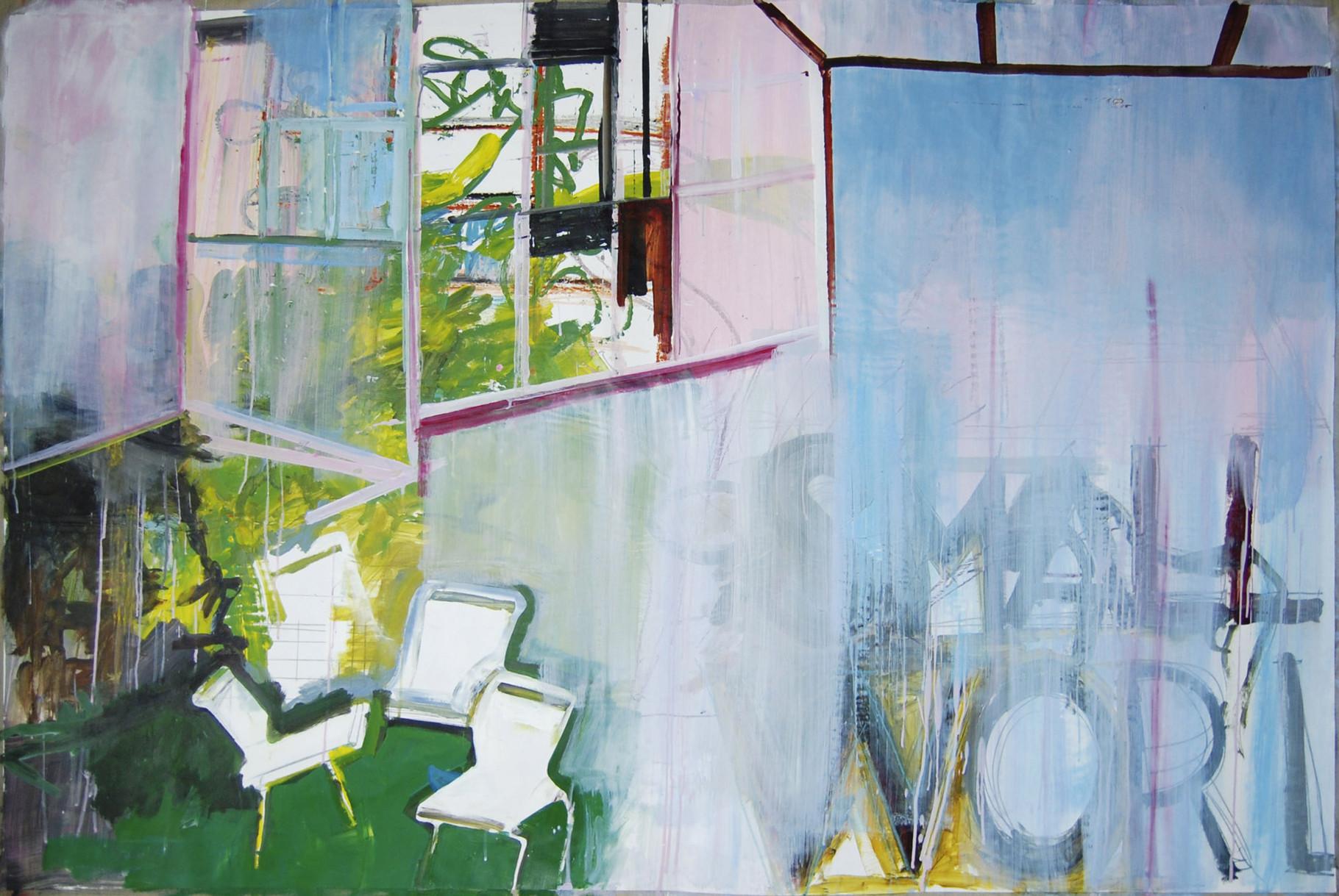 GARDEN SITTING  I  acryl, graphit, kreide u. m. auf hahnemühle karton  I  200 x 132 cm