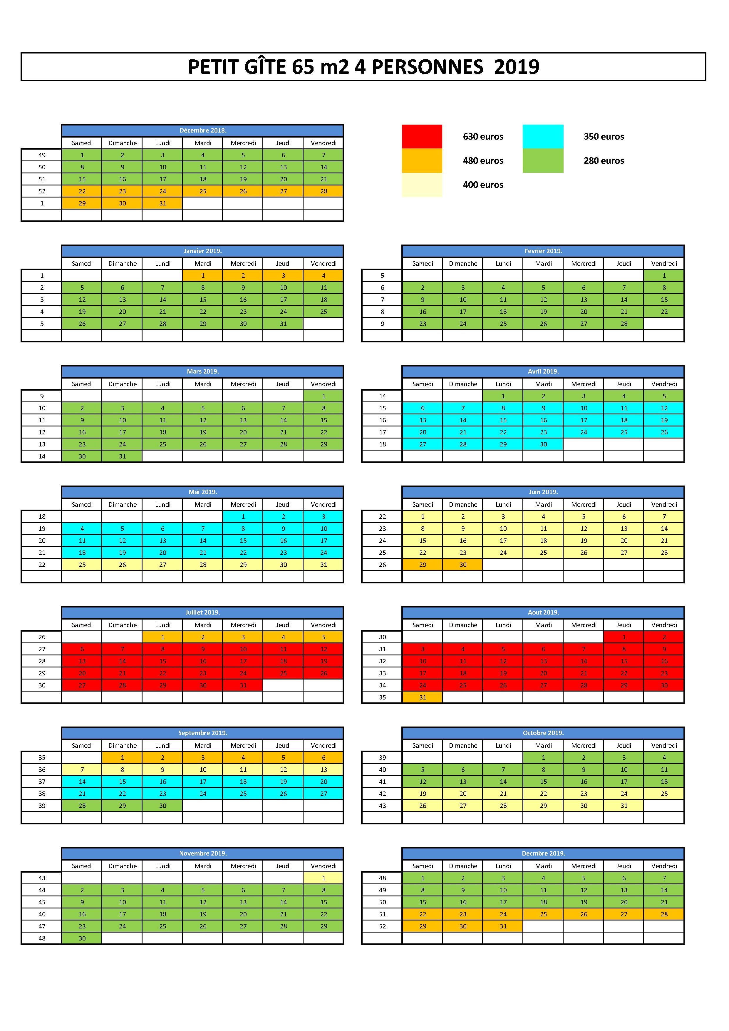 planning d'occupation et tarif gîte BREIZH EVASION 4 personnes 2017
