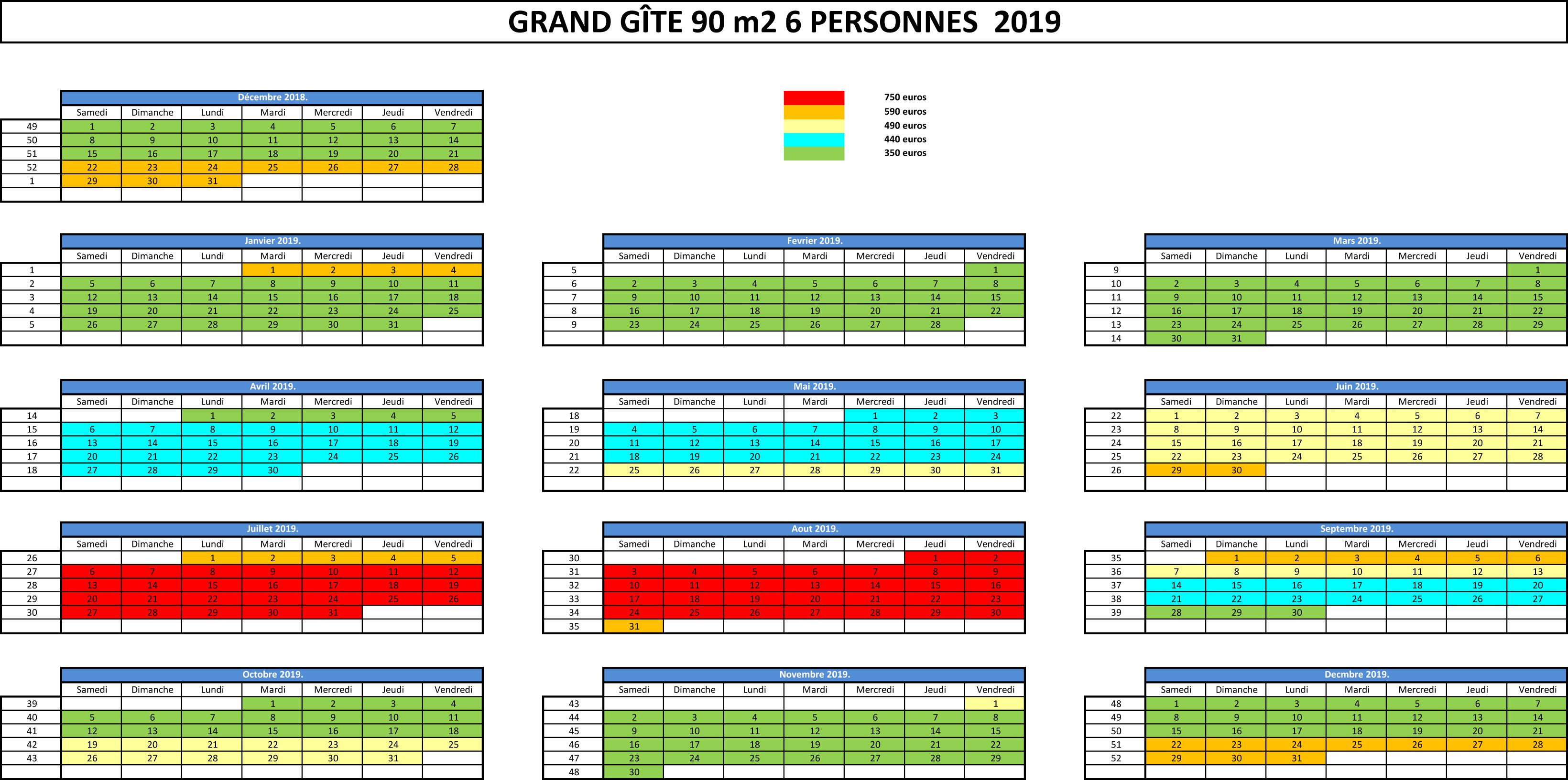 planning d'occupation et tarif GÎTE BREIZH EVASION 6 personnes 2017