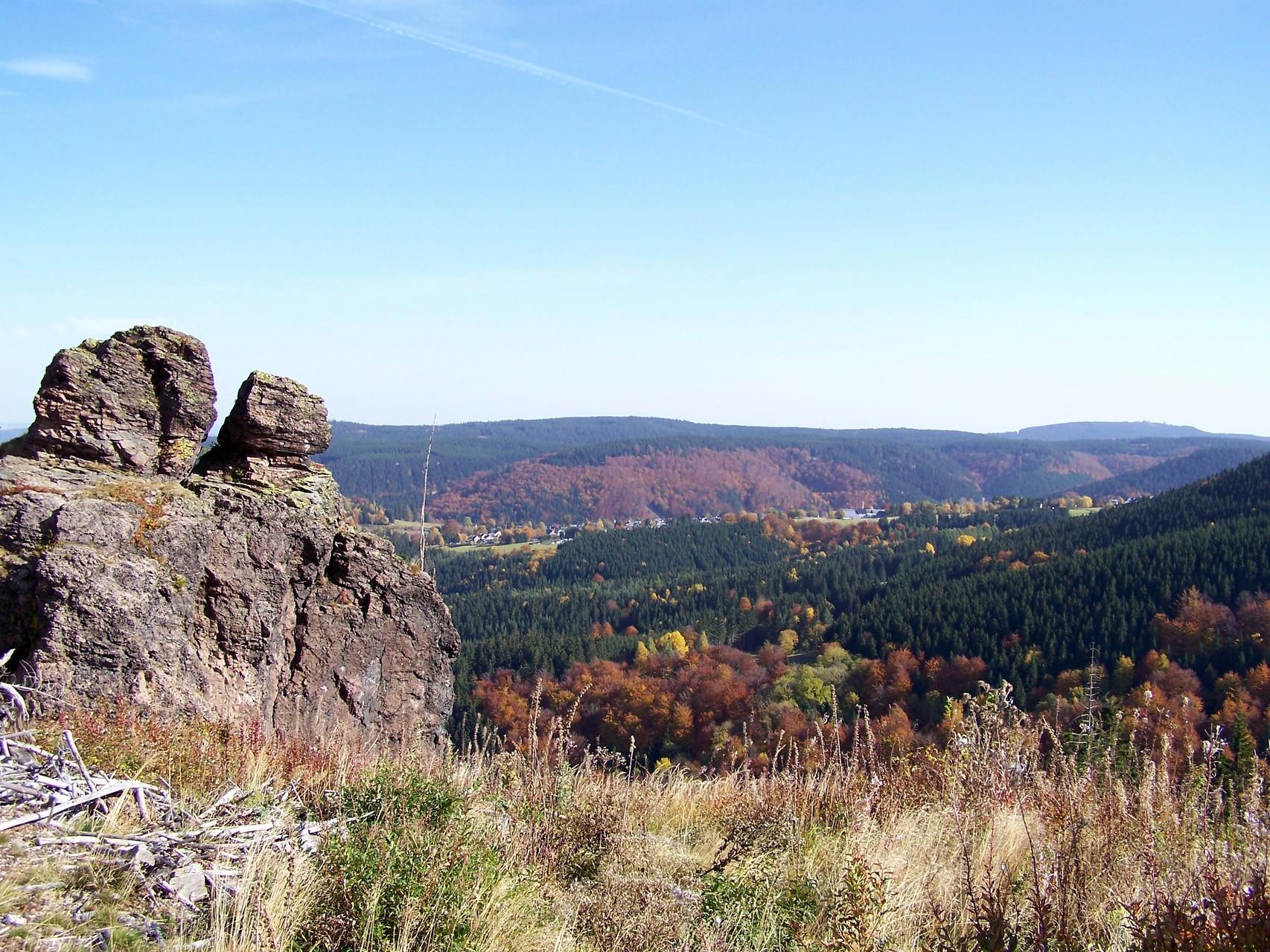 Felsschlag, im Hintergrund unser Bergdorf Gehlberg