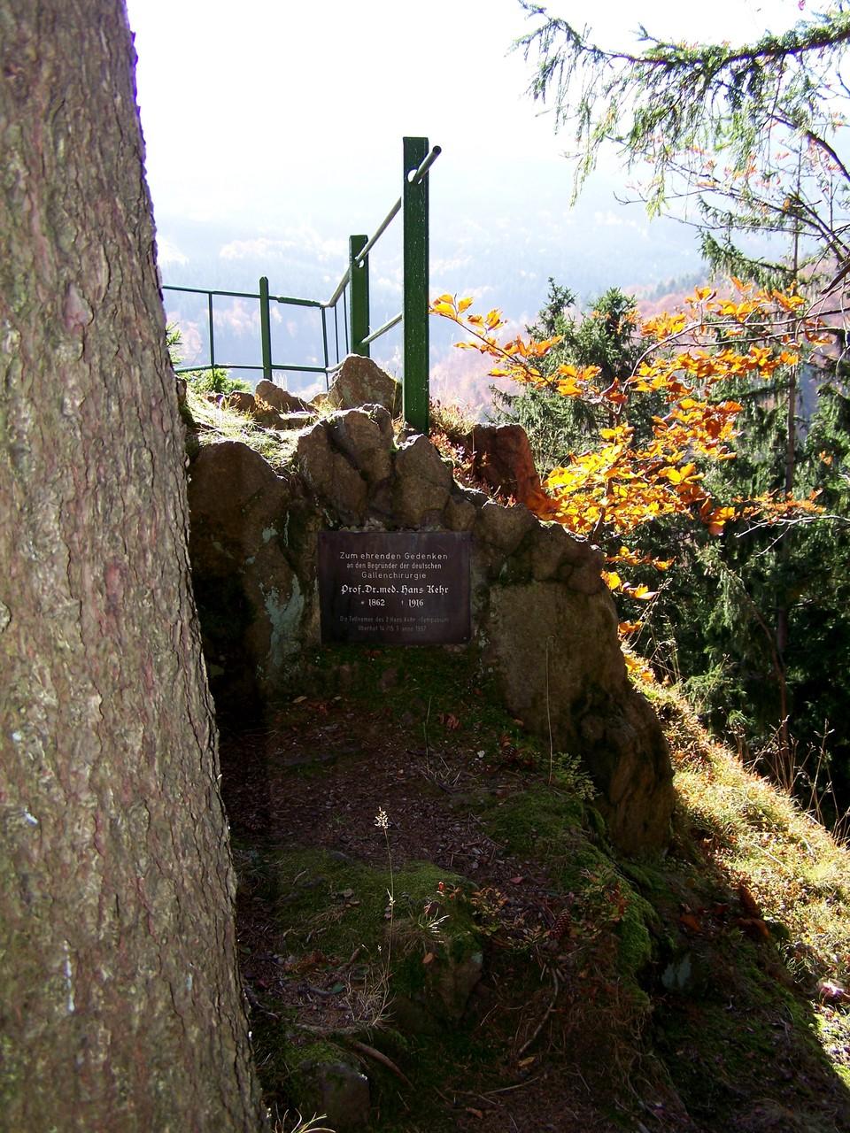 """Zum Gedenken an den namhaften deutschen Chirurgen wurde ein Aussichtsfelsen nordöstlich von Gehlberg am Bettelmannskopf """"Hans-Kehr-Stein"""" benannt."""