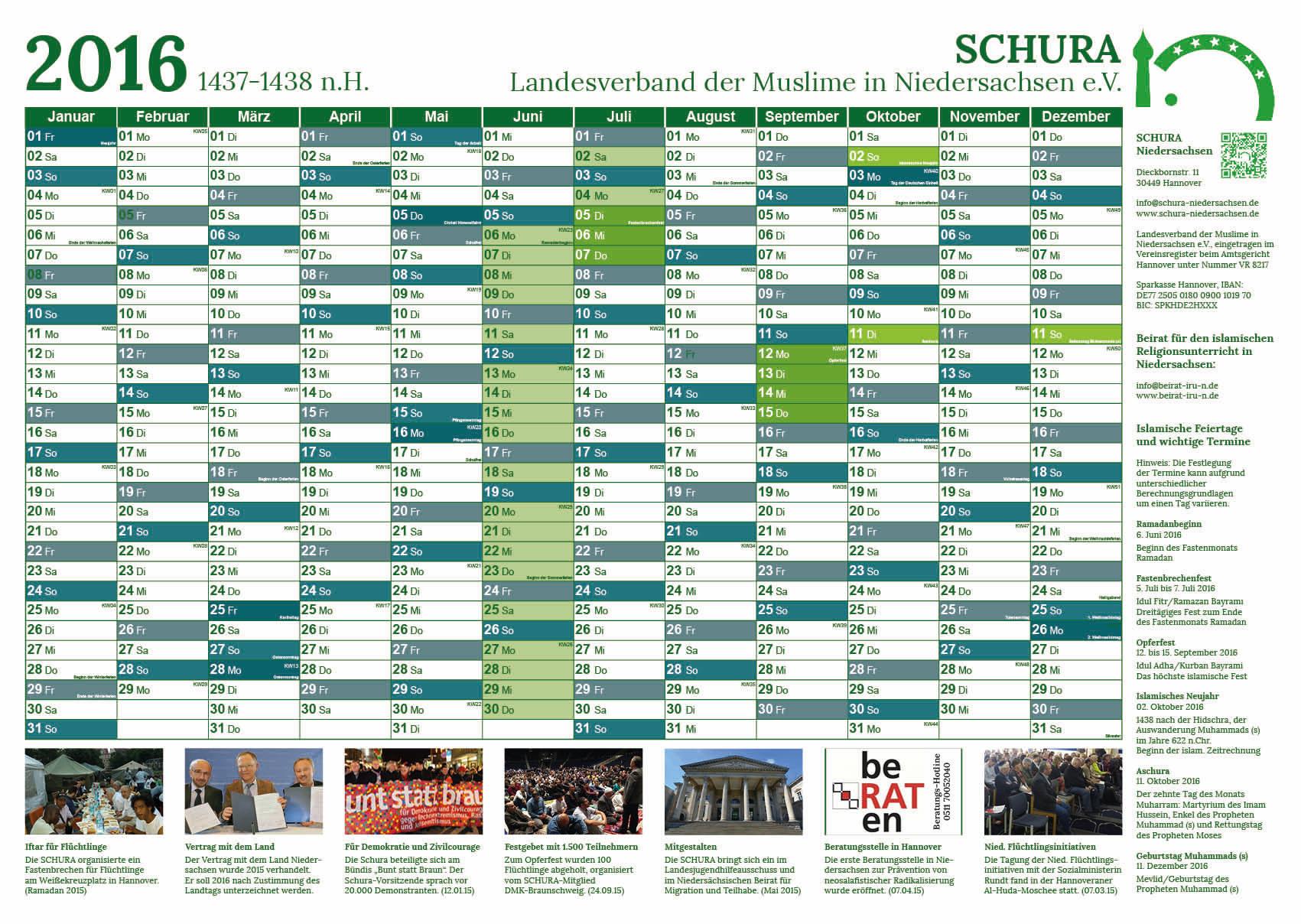 SCHURA Jahreskalender 2016