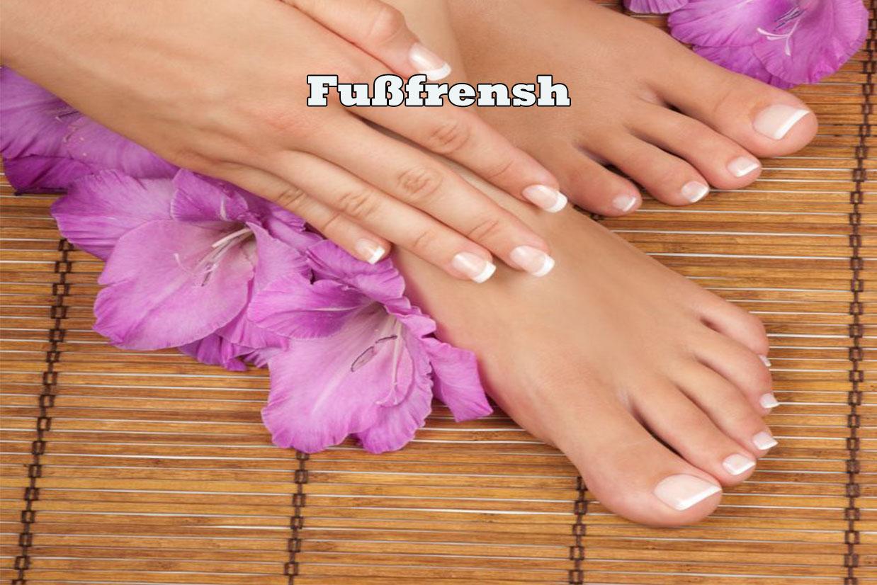 Die Fußnägel werden in Form gefeilt. Dann wird das French aufgemalt und anschließend mit Gel versiegelt. Perfekt gestylte Fußnägel für ca. 6-8 Wochen