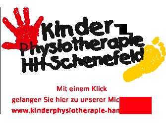 Logo & Webscreen unserer Microwebsite zum Thema Kinder-Ohysiotherapie, PTS Physiotherapie Schenefeld GmbH