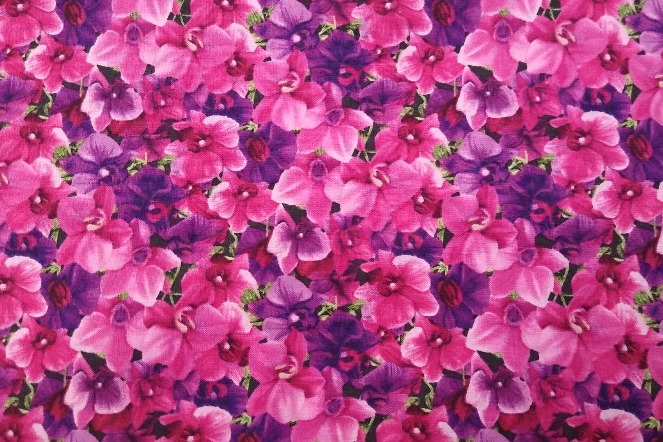Baumwolle Stiefmütterchen/ Blumen, pink, 110cm breit, 0.5m 10.00€