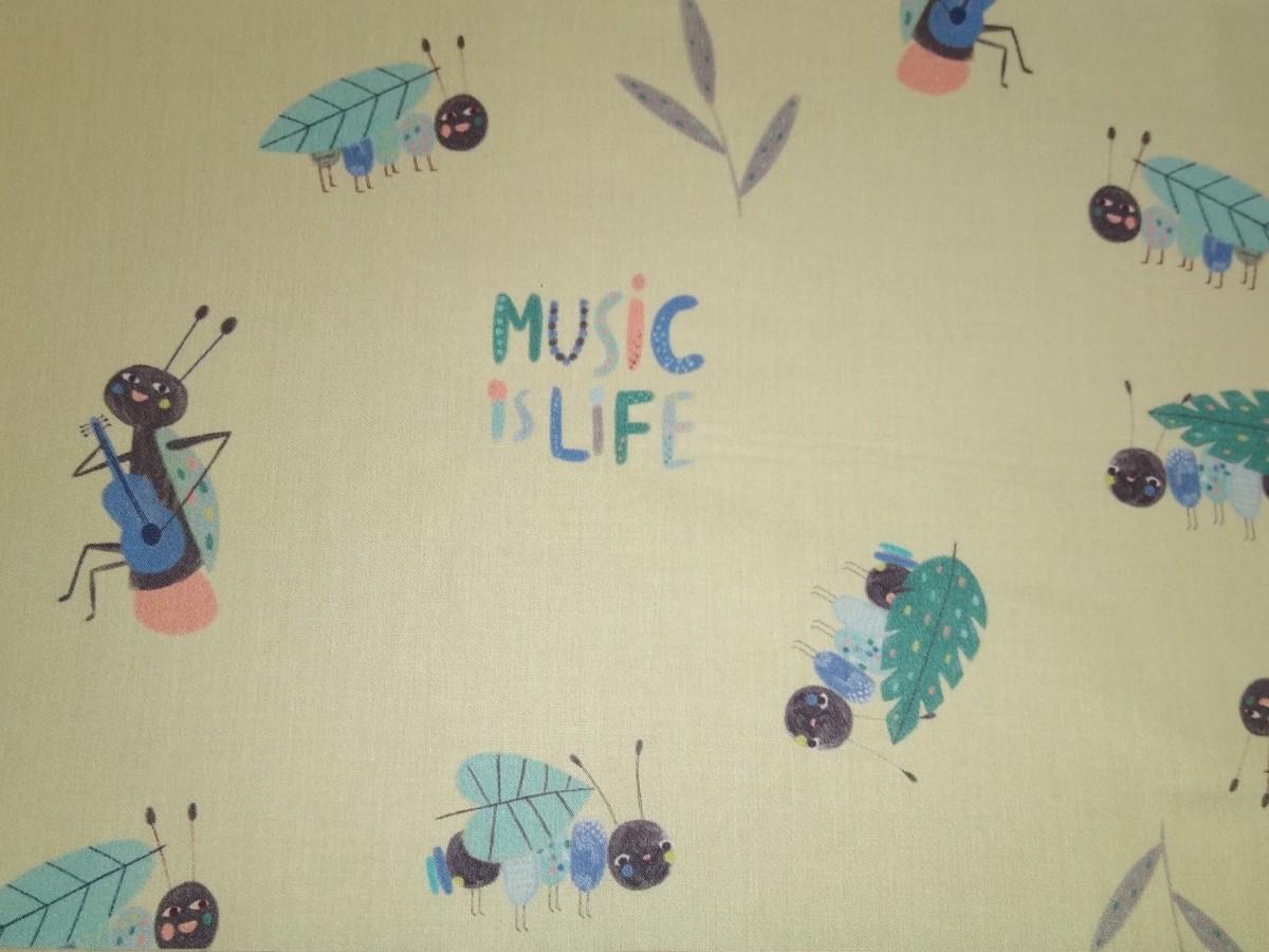 Baumwolle Music life/ Instrumente/ Insekten, 140cm breit, 0.5m 7.00€