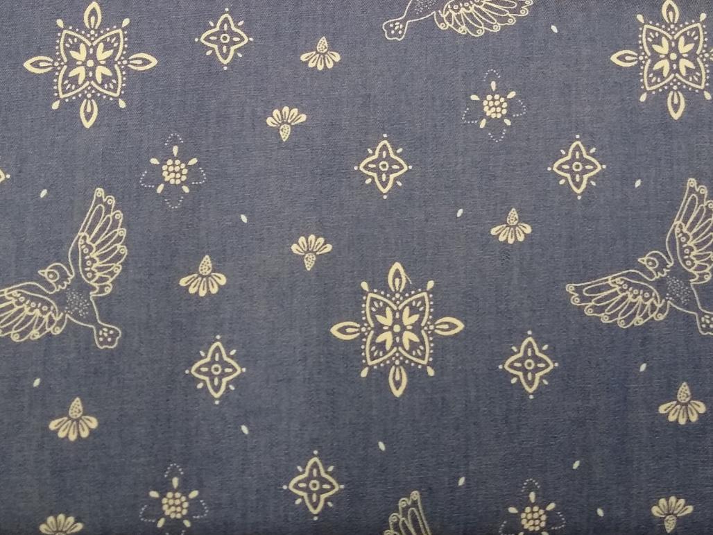 Jeansstoff bedruckt Ornamente, 140cm breit, 0.5m 6.50€