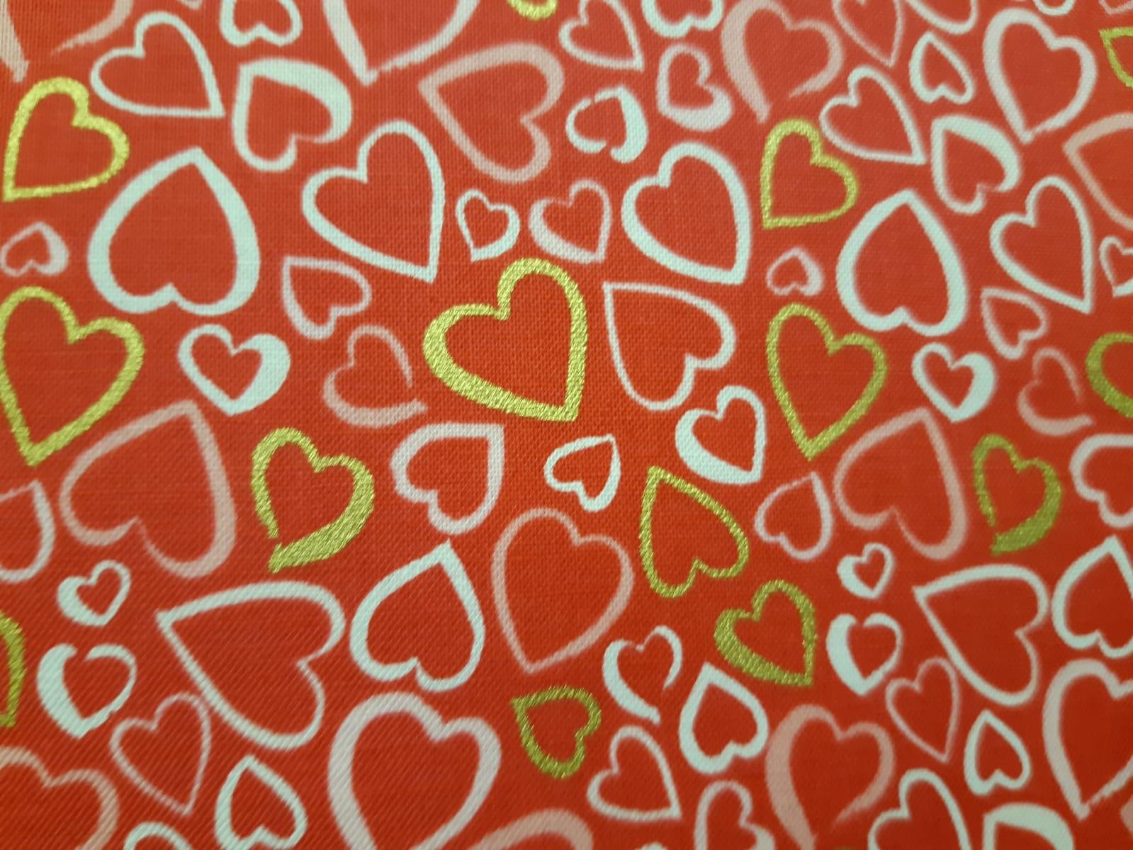 Baumwolle Herzen mit Glitzerdruck, 110cm breit, 0.5m 10.00€
