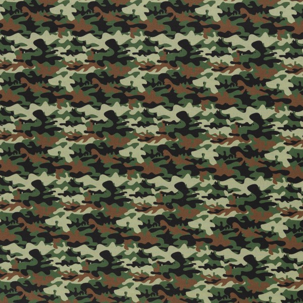 Baumwolle Camouflage/ Tarnmuster braun grün, 140cm breit,0.5m 7.00€