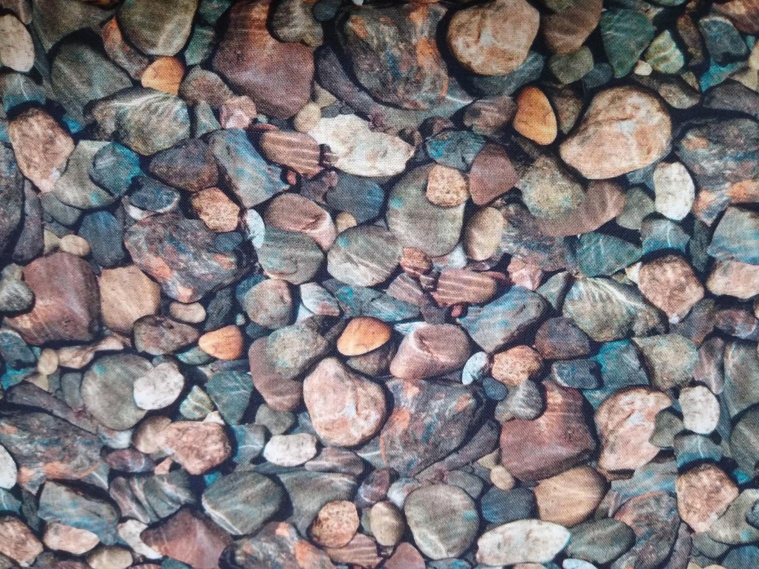 Baumwolle Steiene Fotodruck, 110cm breit, 0.5m 10.50€