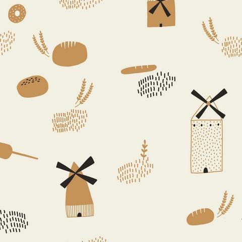 Baumwolle Brot/ Backen/ Mühle/ Getreide, 140cm breit, 0.5m 7.00€