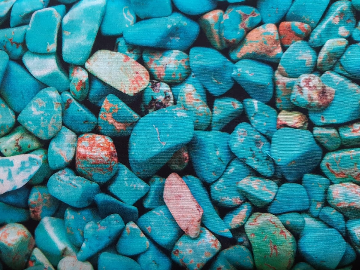 Viskose Webware Steine blau, 140cm breit, feine Qualität: 0.5m 7.50€/ griffige Qualität: 0.5m 8.00€