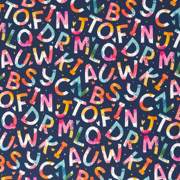Baumwolle ABC/ Buchstaben, 140cm breit, 0.5m 7.00€