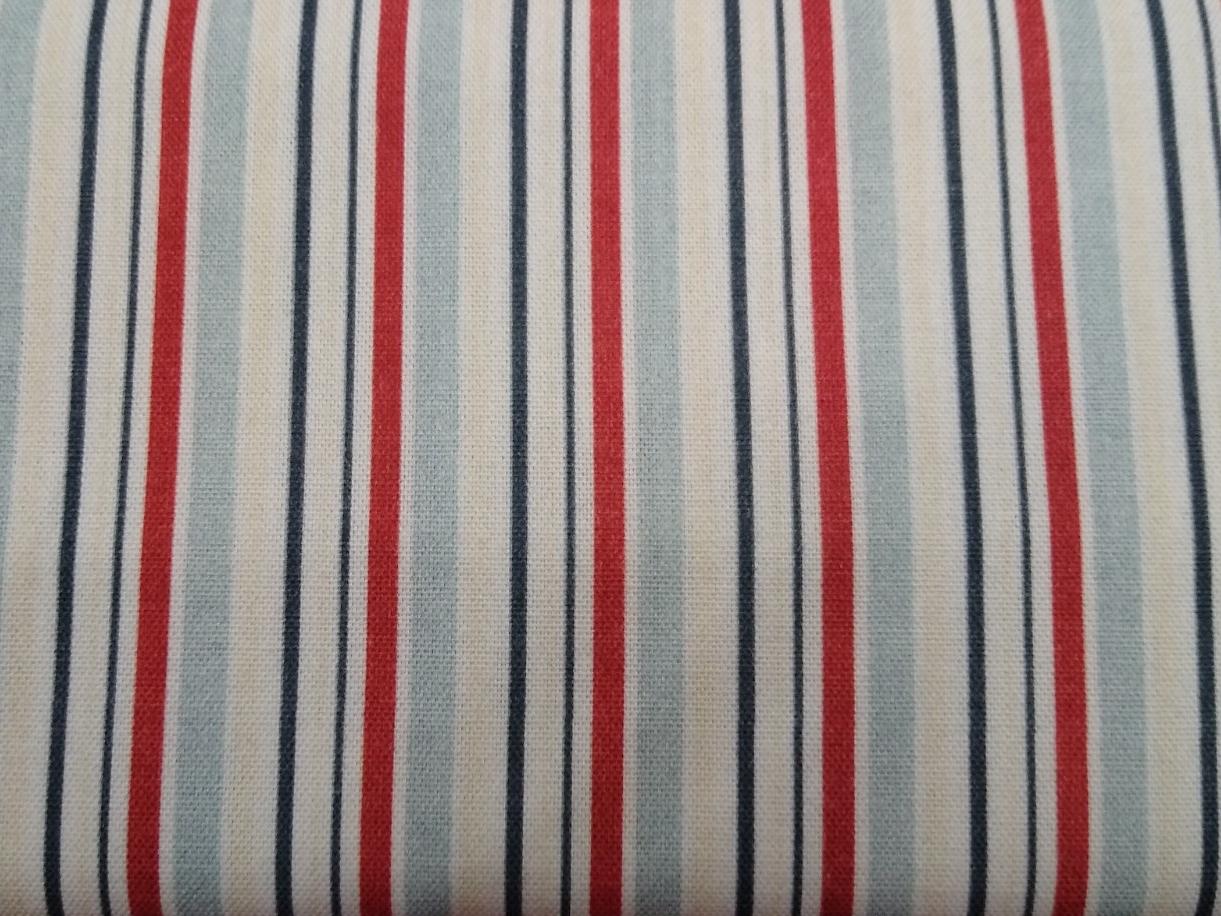 Canvas Streifen blau weiß rot, 100% Baumwolle, 140cm breit, 0.5m 7.50€