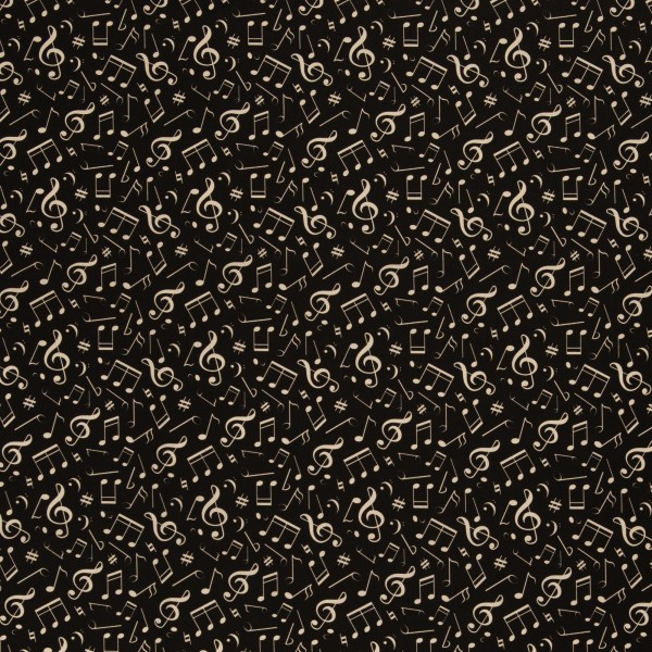 Baumwolle Noten/ Musik, schwarz/weiß, 140cm breit, 0.5m 7.00€