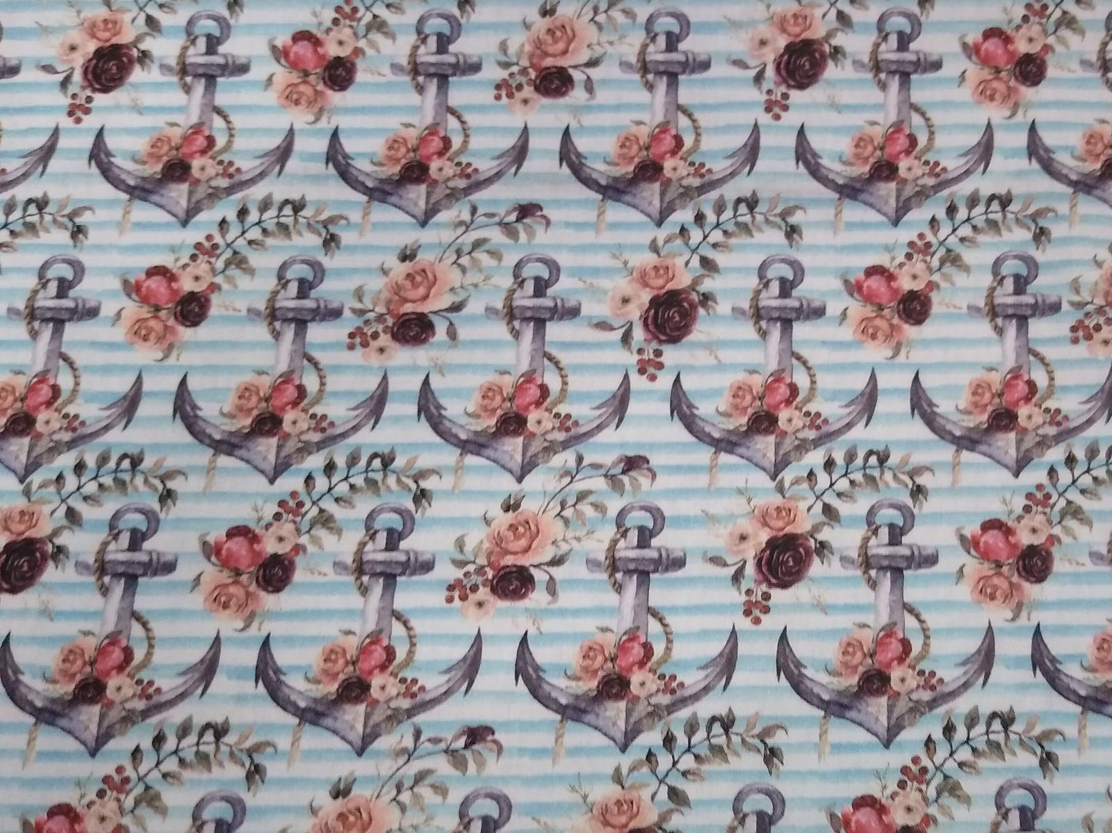 Baumwolle Anker/ Blumen/ Streifen, 140cm breit, 0.5m 7.00€