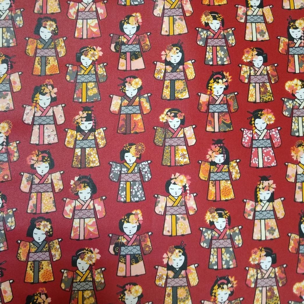 laminierte Baumwolle Geishas rot, 140cm breit, gemustert 0.5m 10.00€