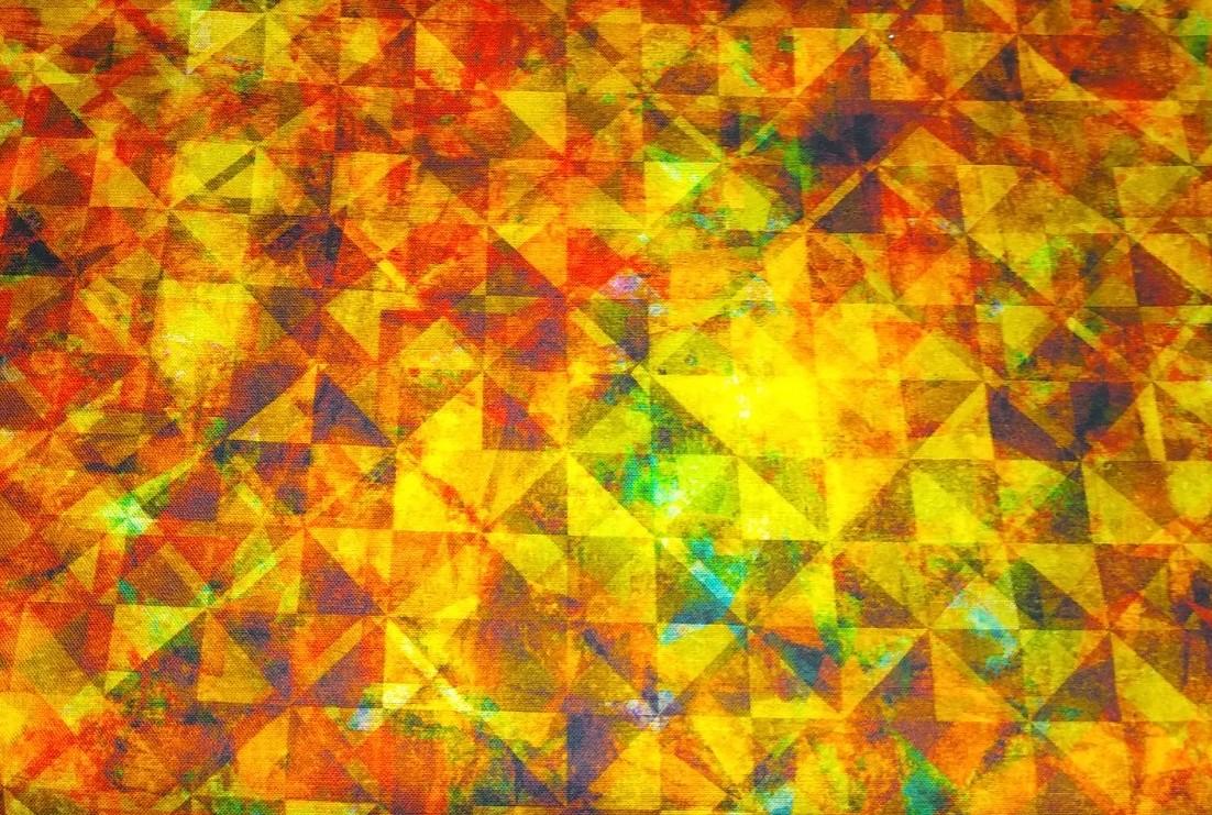 Baumwolle Kaleidoskop/ Dreiecke gelb, 110cm breit, 0.5m 8,50€
