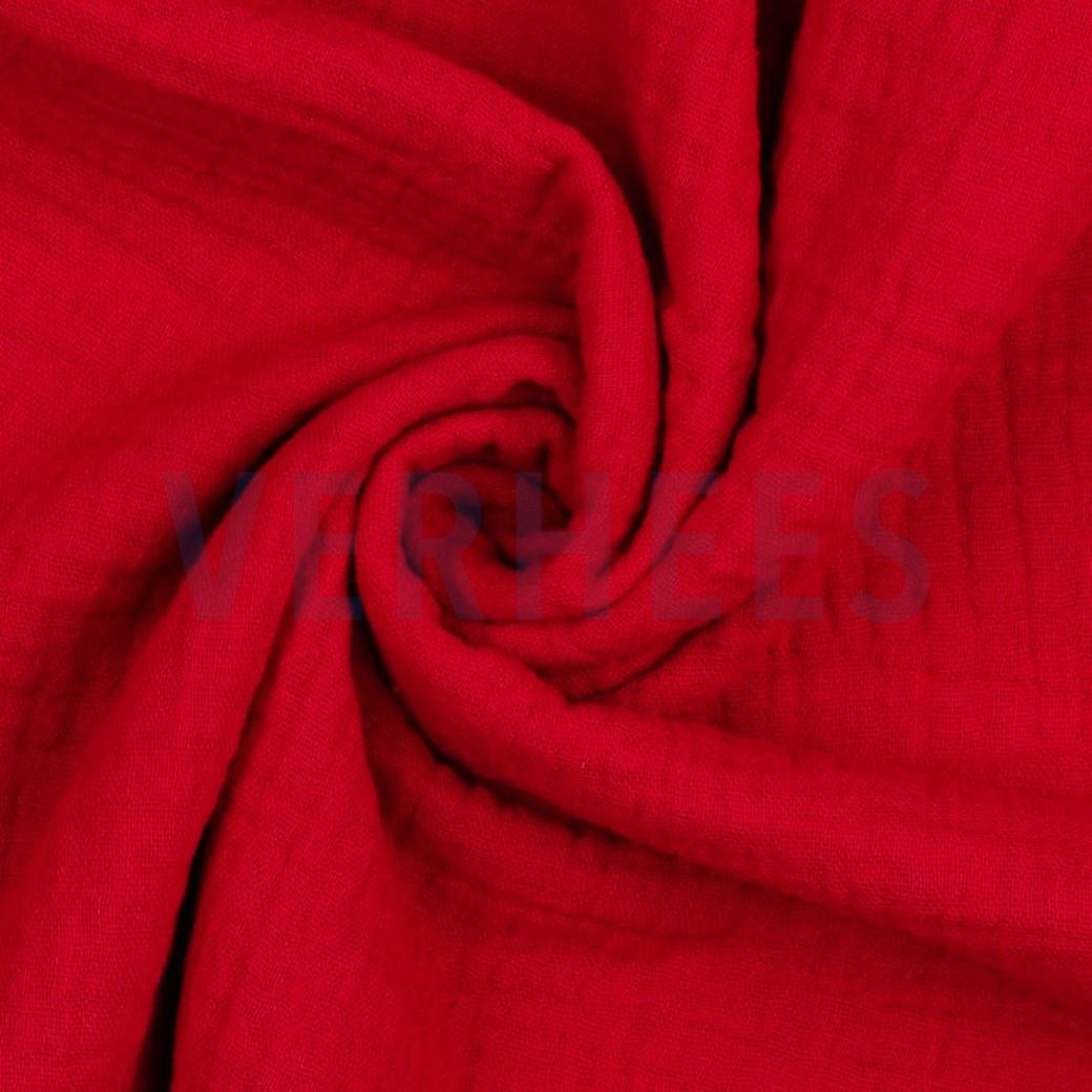 Musselin/ Double Gauze uni rot, 140cm breit, 0.5m 6.50€
