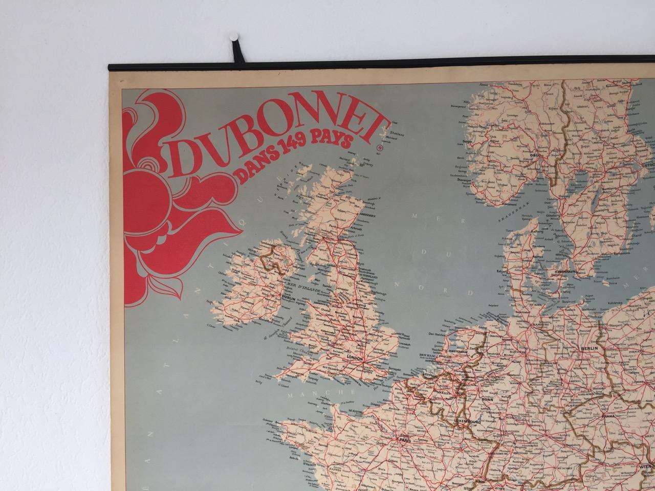 "Reclamelandkaart ""Dubonnet"" 80 x 80 cm"