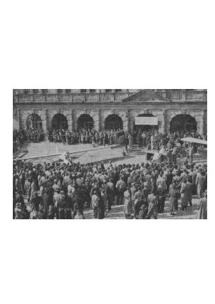 Flugzeugetaufe am Marktplatz in Rothenburg März 1954