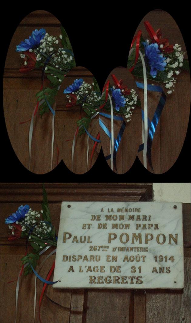 À l'intiative de la Maire déléguée, les enfants du village ont déposé un petit  bouquet sur les plaques dans l'église en l'honneur des soldats tombés au champ d'honneur